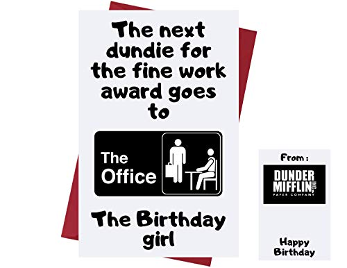 Funny Birthday Card The Office US for Men – Dundie Award – The Office TV Series Card – Birthday Card The Office – for Friends, Family, Lover, Etc. Who Love The Office – Fine Work Award (Girl)