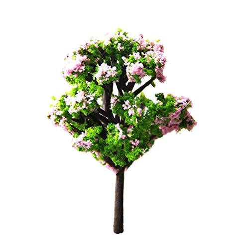 10 Stück Simulation Baum Pflanze Ornament Miniatur Puppenhaus Töpfe Rosa Mahagoni Blume Baum Dekor DIY Landschaft Ornament für Hausgarten Dekor