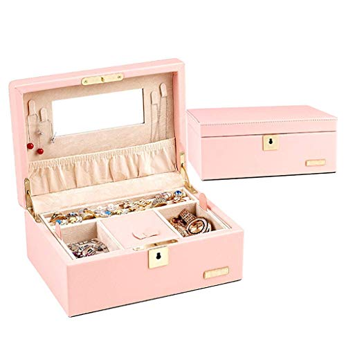 Hoge kwaliteit Jewelry Box Travel Accessory Organizer met verwijderbare bak Faux Leather Vitrine for armbanden, oorbellen, ringen cadeau for meisjes, vrouwen, moeder, Daughter24 * 17 * 9.5cm