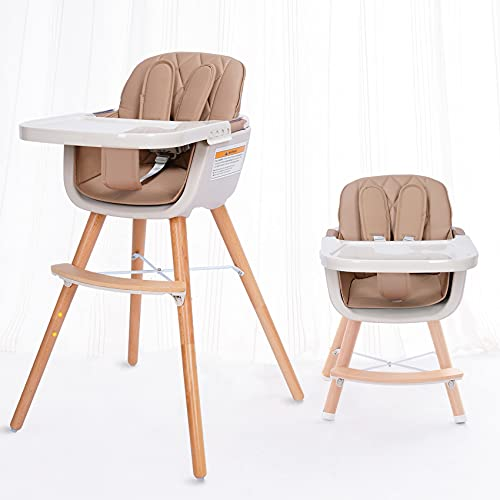 little dove 3-in-1 Convertible Wooden High Chair with Removable Tray and Adjustable Legs and Cushion - Brown