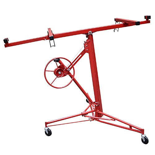 WFLNHB 11FT Drywall Lift Panel Hoist Jack Lifter Jack Rolling Caster Wheel Drywall Lift Construction Tool Red