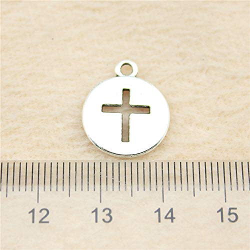 NEWME 50 unids 15 mm cruz colgante de los encantos para la fabricación de joyas de bricolaje al por mayor artesanía hecha a mano collar de la pulsera llavero accesorios del bolso
