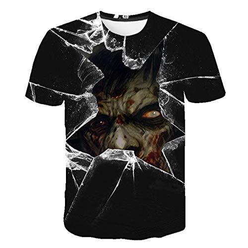 Unisex 3D Druckten Sommer-beiläufige Kurze Hülsen-T-Shirts Sommer Herren Trend T-Shirt 3D gedruckt Zombie Streetwear O-Neck Tops-XXL
