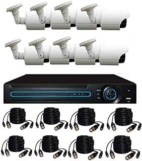 طقم 8 كاميرات مراقبة خارجية اتش دي 1200 خط فائقة الوضوح وجهاز تسجيل دي في أر وجميع ملحقات التركيب