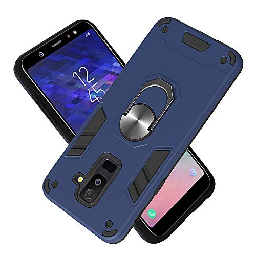 Armure Coque Samsung Galaxy A6 Plus (2018), Boîtier PC + TPU Double Layer Housse résistant aux Chocs avec Support à Anneau Rotatif à 360 degrés (Bleu