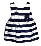 little PANDA Baby Girls' Pleated Knee Length Frock Dress (Frk_satinPatta_Navy Blue_6-12 Months)