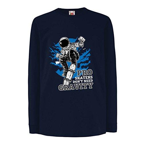 lepni.me T-Shirt pour Enfants avec des Manches Longues Pro Skaters Don't Need Gravity - Skateboard Sprüche, Skate Leben Zitate (14-15 Years Bleu Multicolore)