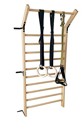 FC FUNCHEER Wood Stall Bar,Swedish Ladder bar with Gymnastic Rings Set and Suspension Training Set with 86.6 inches in Height and 35.5 inches Width,Gymnastic Ladder Wall bar-Pull Up bar