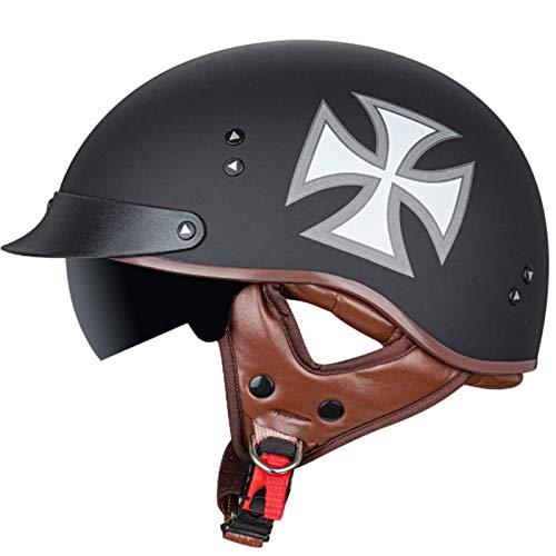 Retro-Motorrad-Halbhelm, DOT/ECE-Zugelassener Adult-Unisex-Motorradhelm Mit Offenem Gesicht, Halbschalenhelm Für Cruiser-Elektroroller-Chopper-Moped-Schädelkappe A,L