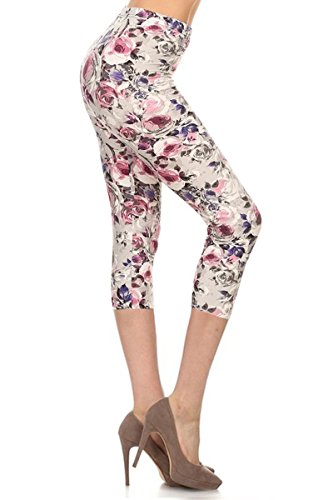 R662-CA-3X5X Cherish Rose Capri Printed Leggings, 3X5X