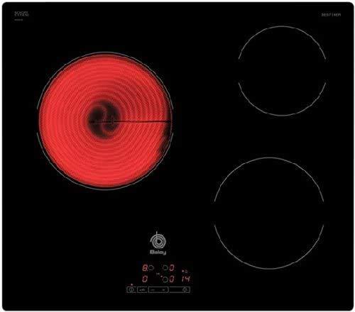 Balay, 3EB714ER - Placa Vitrocerámica, 60 cm, 186,5 Wh/kg, 3 Zonas + Zona 28cm biselada, Control Táctil de fácil uso con 17 niveles de cocción, Color Negro, Programación de tiempo de cocción