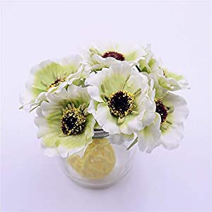 Artificial and Dried Flower 6pcs Mini Artificial Flower Sunflower Poppy Bouquet Wreath Scrapbook Wedding Decoration Fake Silk Flowers for Crafting – ( Color: Light Green )