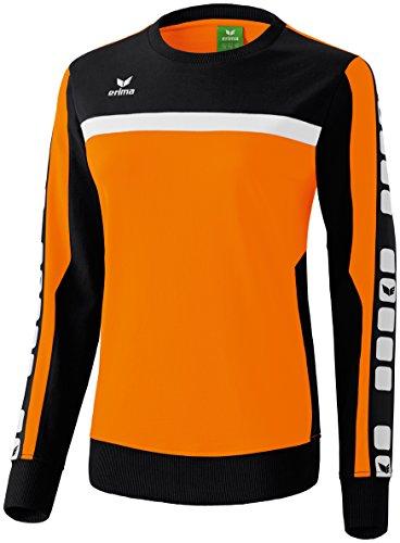 Erima Damen Classic 5-C Sweatshirt, orange/schwarz/weiß, 36