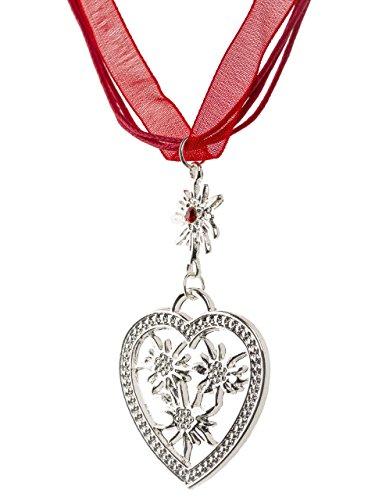 Trachtenkette Wiesnherz - eleganter Herz Anhänger - Trachtenschmuck Kette für Dirndl und Lederhose (Rot)