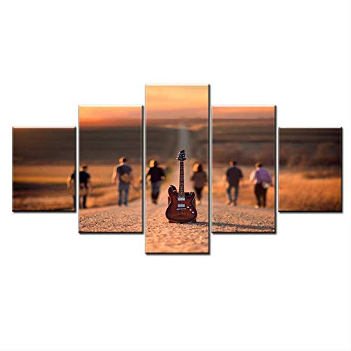 HD-printer, 5 stuks, voor gitaar en abstract, voor mensen, landschap, straat, muziekpost, afbeelding, decoratie thuis, canvas, muur, kunst 40x60cmx2 40x80cmx2 40x100cmx1 Met frame