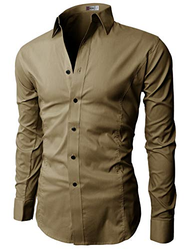 H2H Mens Dress Slim Fit Shirts Long…