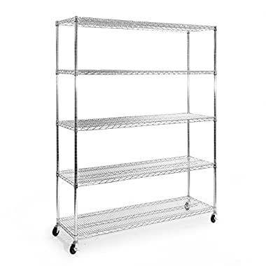Seville Classics SHE18603 Ultradurable Commercial-Grade 5-Tier Steel Wire Shelving with Wheels, 60  W x 18  D x 72  H, UltraZinc