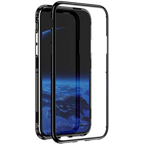 YSIMEE Compatibile con Cover iPhone XS,Custodie Assorbimento Magnetico Montatura in Metallo Flip Cover Ultra Sottile Mirror Specchio Integrata Antiurto AntiGraffio,Nero