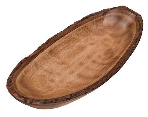 Schale, oval, groß, aus Mangoholz mit Rinde