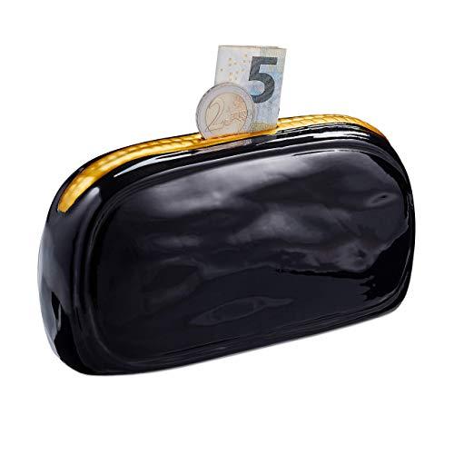 Relaxdays spaarpot portemonnee, keramiek, spaarpot voor meisjes en dames, spaarvarken HBT 8x16x6cm, zwart/goud