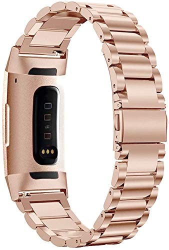 YQSBYI Correa de Metal Smart Reloj Correa Pulsera Compatible Acero Inoxidable Reemplazo Correa de muñeca (Band Color : Rose Gold)
