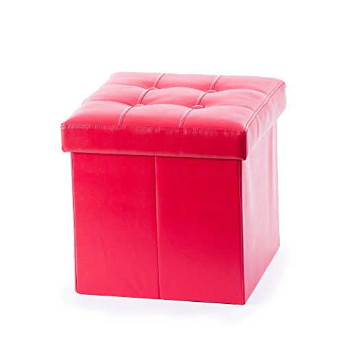 Guidecraft Kids Storage Ottoman - Red Foot Stool and Toy Box with Removable Top Cushion for Playroom and Bedroom - Children's Furniture