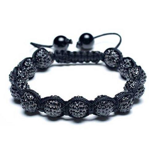 Stackable Black Pave 10MM Crystal Disco Ball Shamballa Inspired Bracelet for Women for Men Teen Black String Adjustable