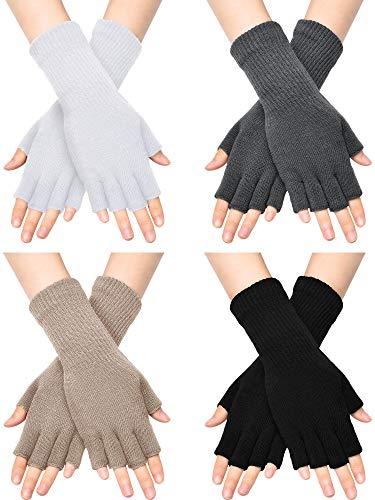 Unisex Half Finger Gloves Winter Stretchy Knit Fingerless Typing Gloves (Black, White, Dark Grey, Light Tan, 4)