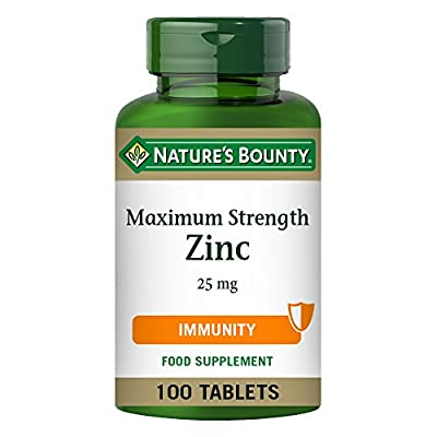 Nature's Bounty Maximum Strength Zinc 25 mg Tablets - Pack of 100