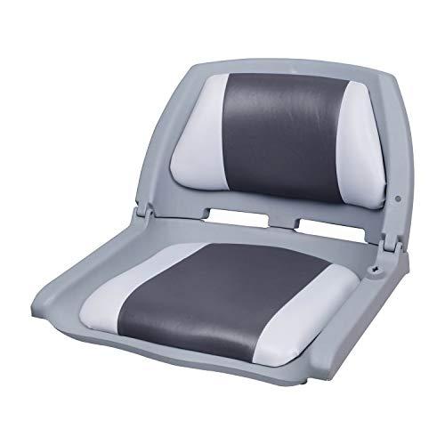 [pro.tec] Bootsstuhl/Steuerstuhl - klappbar und gepolstert [grau-weiß] Kunstleder