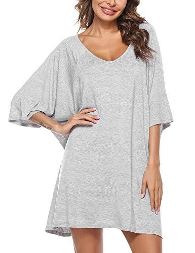 Hawiton Camisón Mujer Verano Camisón Sexy de Algodon Camisón Manga Corta Camisones para Mujer Pijamas Algodon Sexy, Gris, XL