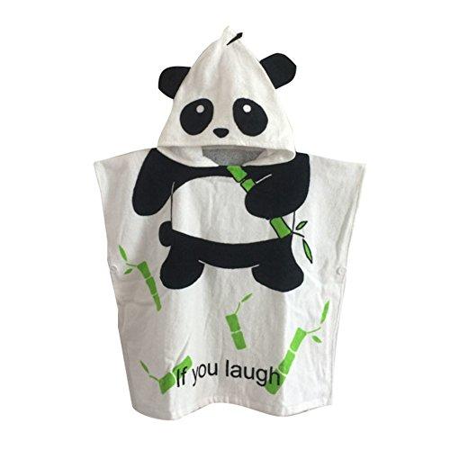 Kapuzenponcho Kinder Handtuch 100% Baumwolle Jungen Mädchen Kapuzenponchos Schwimmen mit Tiermotiv Poncho Towel Strand 0-6 Jahre Panda