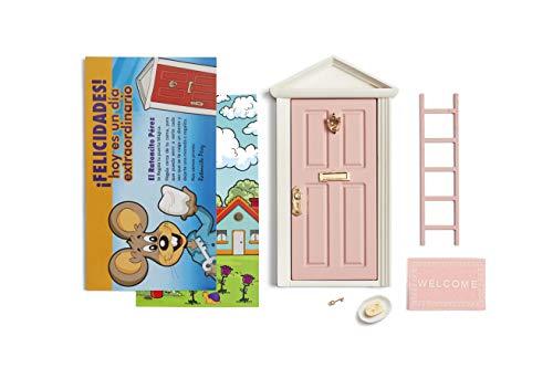 Magische Tür der Zahnfee ROSA + Leiter + Gericht + Teller + Käse + Fußabtreter + Schlüssel + Zeichnung für den Hintergrund der Tür + Grußkarten