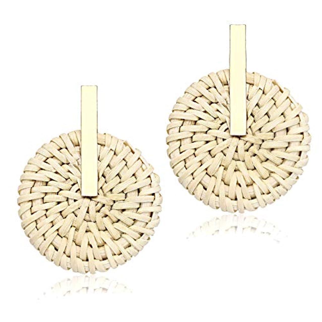 PHALIN JEWELRY Rattan Earrings Straw Wicker Braid Drop Dangle Earrings Handmade Stud Earring for Women Girls