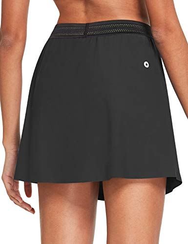 BALEAF Women's Athletic Running Skirts with Pockets Workout Quick-Dry Golf Skorts Tennis Yoga Sports Gray L
