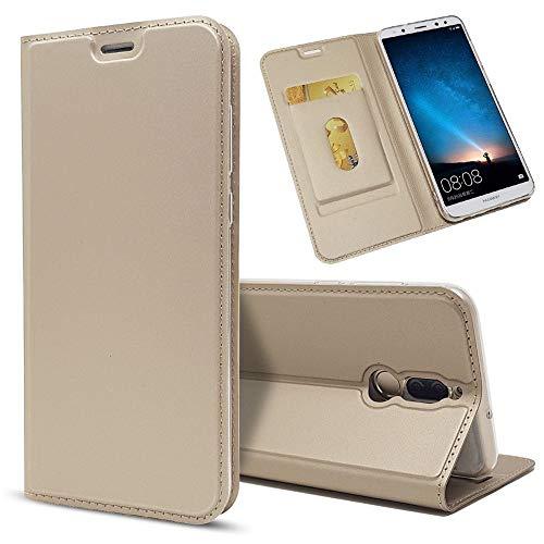 Sangrl Funda para Huawei Maimang 6, Libro Cuero de la PU Leather Case Soporte Plegable Premium Flip Case para Huawei Mate 10 Lite - Gold