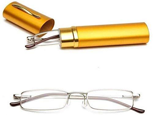 Gafas de lectura de resina de montura de acero inoxidable unisex de 1 pieza 1.00-4.00 con estuche de tubo (receta para ojos, 150, color de montura, marrón), amarillo, 200