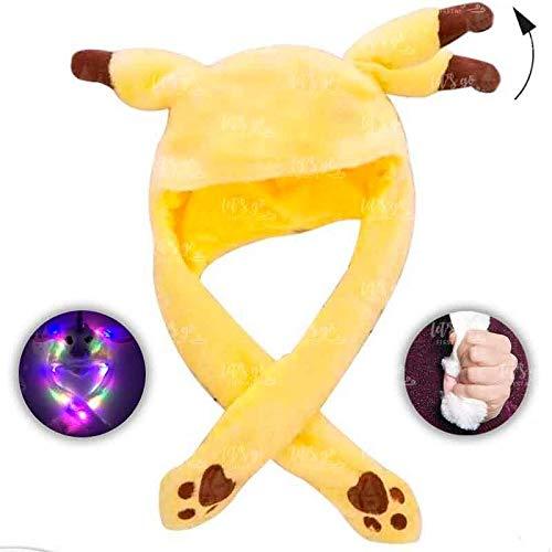 Gorro Ratón Amarillo Peluche con Orejas Que se mueven y luz