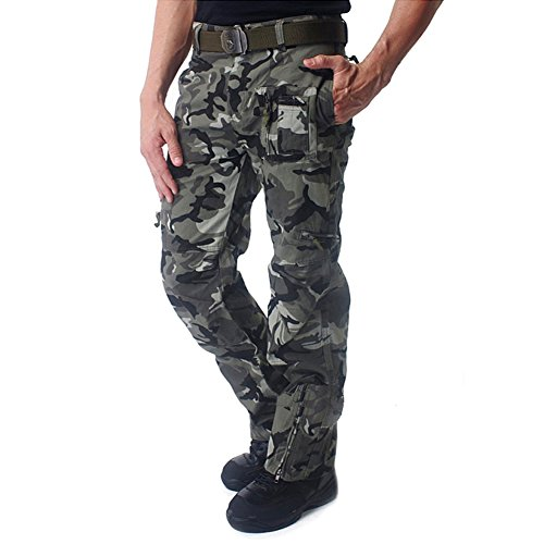 CRYSULLY Men's Summer Outdoors Casual Military Style Pants Tactical Army Multicam Woodland Work Cargo Pants Camo