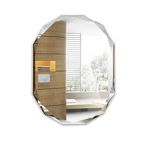 WWSHM Espejo montado en la Pared Espejo en Forma de Diamante Espejo con Fijaciones de Pared, para Sala de baño Dormitorio Sala de Estar, Plateado (45x60cm / 17.7X 24 Pulgadas)