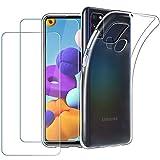 EasyAcc Cover Samsung Galaxy A21S Hülle, dünne durchsichtige Silikongel Premium-TPU Hülle + [2 Stück] Bildschirmschutzfolie aus gehärtetem Glas für Samsung Galaxy A21S