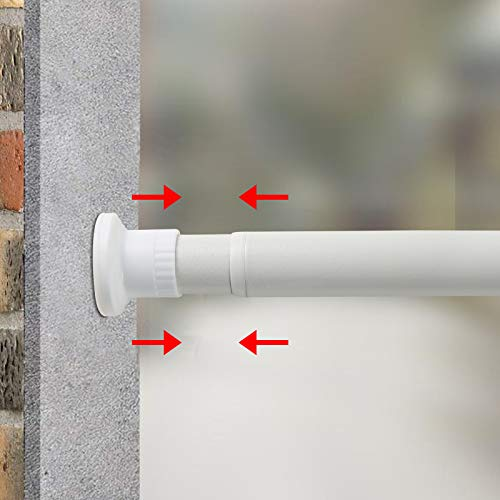 GOLDION Teleskopst Gardinenstange Spannstange Duschvorhangstange,ohne Bohren ausziehbare,Raumteiler Spannung Gardinenstange, Ausziehbar, Premium Tension Windows Gardinenstangen (Weiß, 70-110cm)