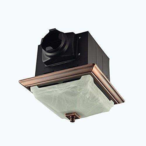 Lift Bridge Kitchen & Bath DSQR110ORB Decorative Oil Rubbed Bronze 110CFM Ceiling Light and Glass...