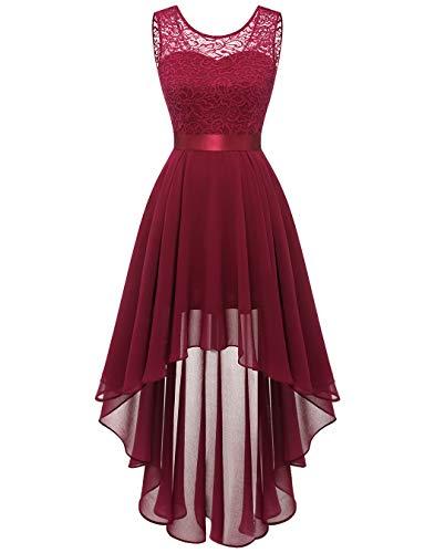 BeryLove Damen Spitzenkleid Rot für Weihnachten Elegant Vokuhila Cocktailkleid Ärmellos Abendkleid Chiffon Brautjungfer Kleid Dunkelrot BLP7035 DarkRed M