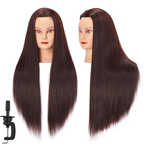 Mannequin Head 26-28 Synthetic Fiber Training Head Braiding Head Hair Styling Manikin Cosmetology Doll Head Hairdresser Training Model for Cutting Braiding Practice with Clamp (92018LB0420)