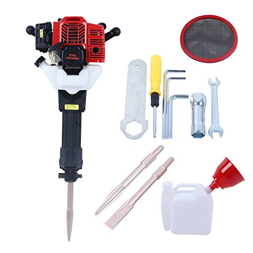 1900W Gas Powered Demolition Jack Hammer Heavy Duty Concrete Breaker, 6500RPM 52CC 2.7HP Drill Kit with Funnel Mixing Pot Pick