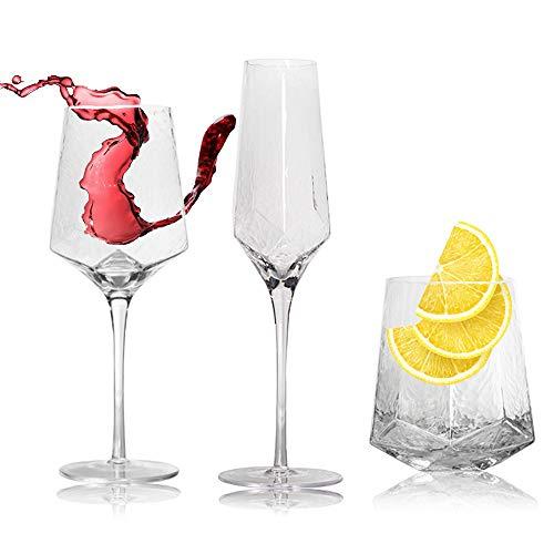 WXLSQ Vin Verre d'eau en Verre sans Plomb Verre De Champagne en Verre Rétro Grand Verre De Vin Ensemble 3 Pièces, Adapté pour La Maison, Un Restaurant Et Un Lave-Vaisselle Partie