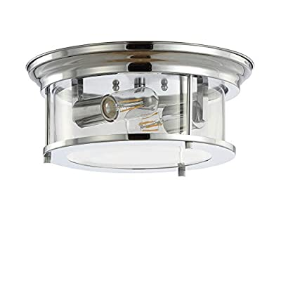 "JONATHAN Y JYL7446C Lauren 13.25"" Metal/Glass LED, Chrome, Bulb Included Flush Mount"