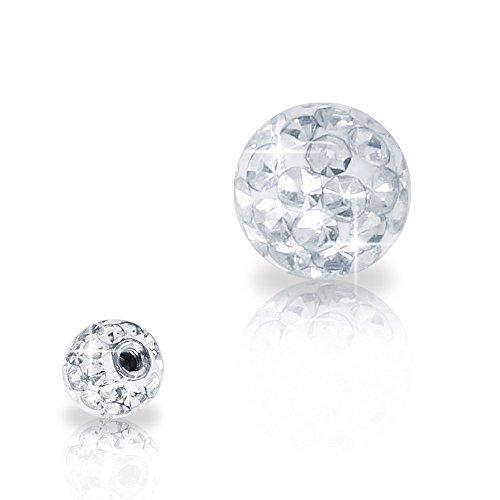 SoulCats® Piercing Kugel Schraub Ersatzkugel Kristall Gel Epoxy Ferido viele Größen, Farbe:weiß, Gewinde:1.2 mm, Kugelgröße:3 mm