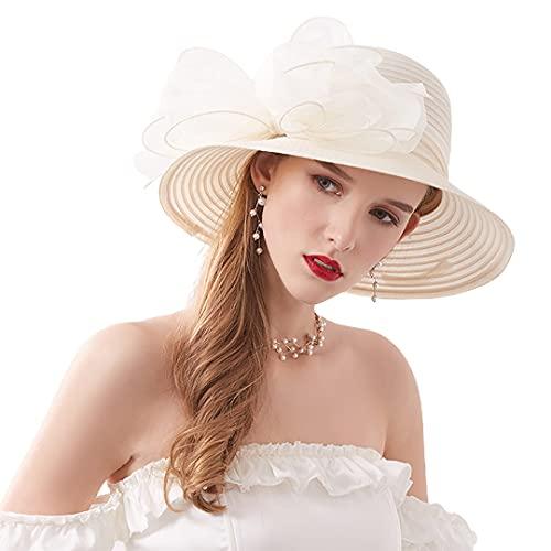 Haoohu Women's Church Derby Hat Wide Brim Bow Bucket Hat Wedding Dress Hat Fascinator Bridal Tea Party Hat Beige